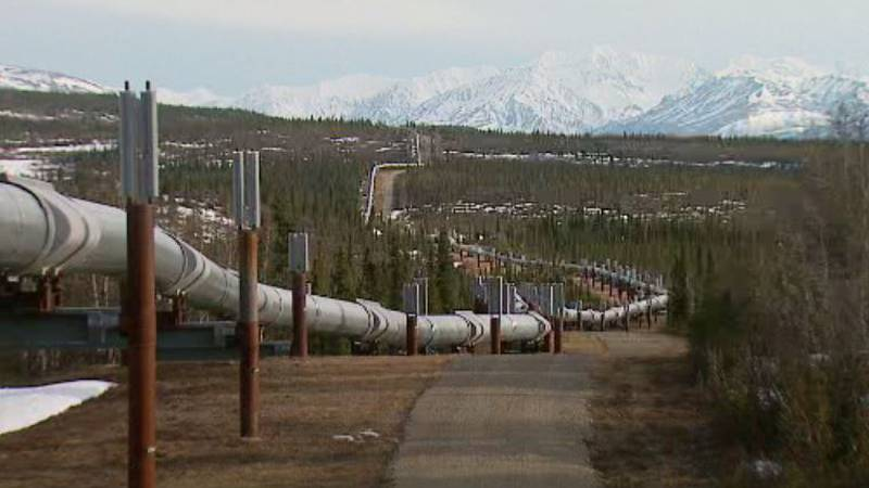 Heat pipes along the TransAlaska Pipeline pull heat out of the ground.