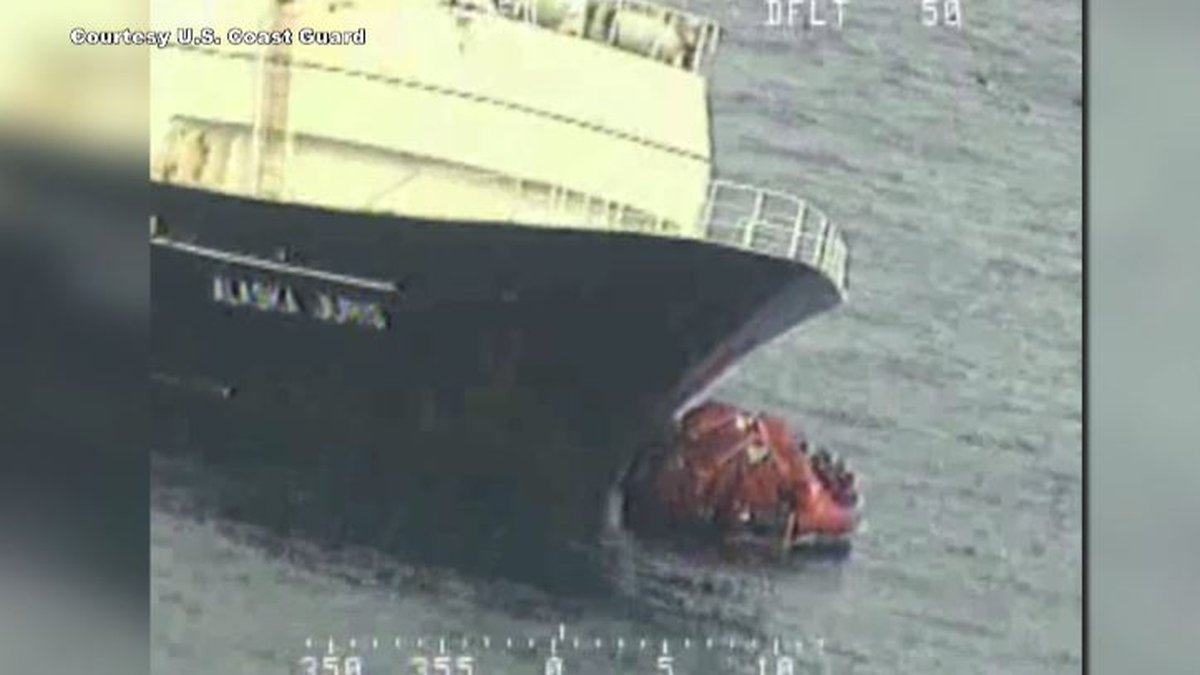 A still image from video of the Alaska Juris sinking released by the U.S. Coast Guard.