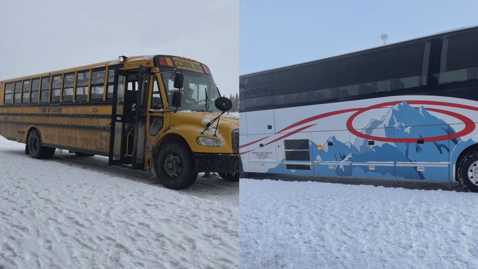 The bus pictured on the left is what the East High School girls basketball team took to the...