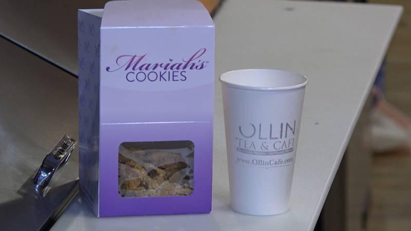 A box of freshly baked Mariah's Cookies prepared at Ollin Tea and Cafe, a brick and mortar...
