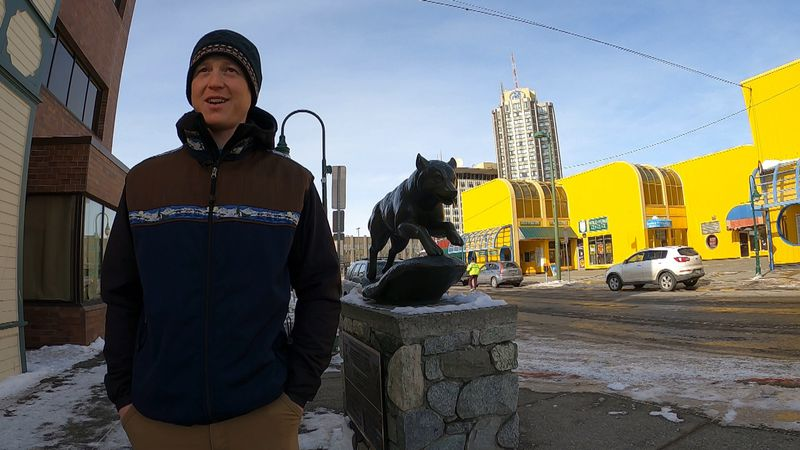 Chad Stoddard at one of the places he didn't get to see during Iditarod 49: the corner of 4th...