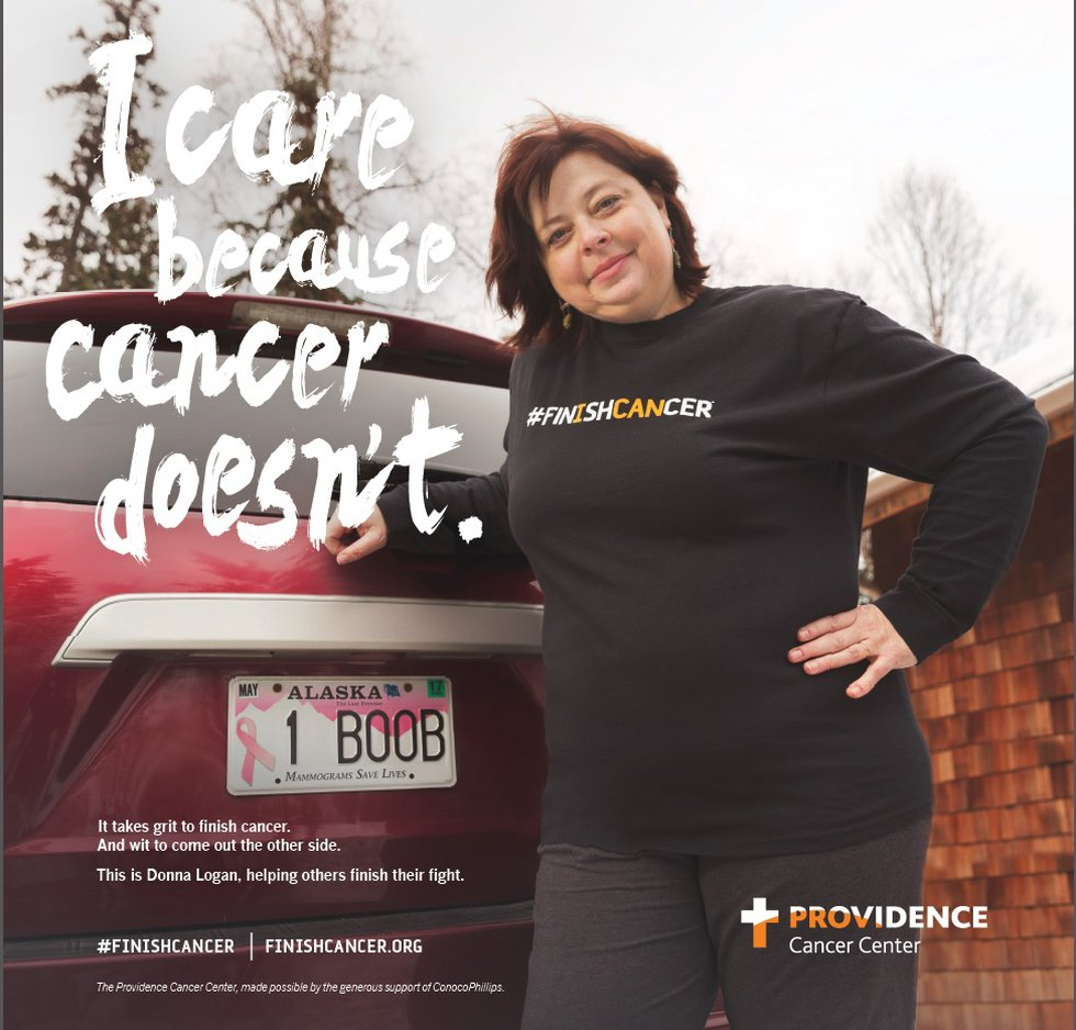A shot of Logan when she was featured with her license plate in a Providence Medical Center...