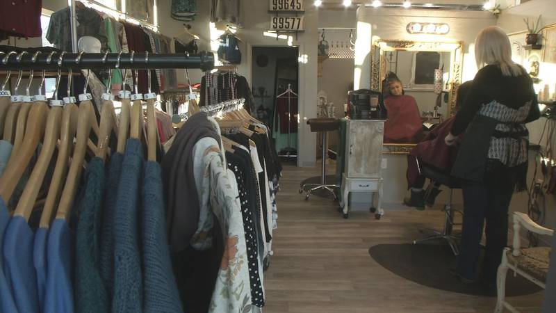 The Alpenglow Hair Studio and Forget Me Not Boutique share a building near downtown Palmer.