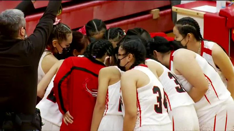 The Chevak Girls High School Basketball team during the 2021 ASAA state basketball tournament.