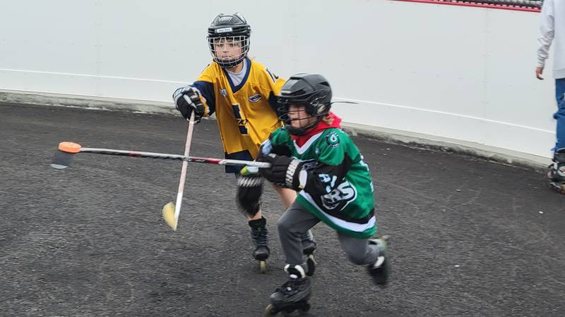 Kids play hockey on new Bayshore Rink that officially opened Wednesday, June 23, 2021 at...