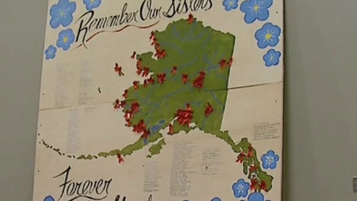 A map displaying the locations of missing and murdered Alaska Native women was displayed at the Alaska Federation of Natives. (KTUU)