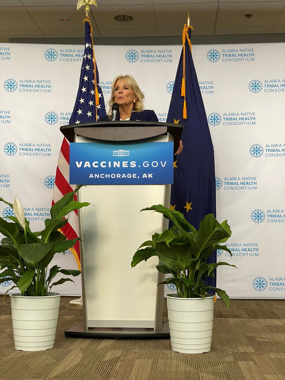 First lady Jill Biden speaks at the Alaska Native Medical Center during a visit Wednesday, July...