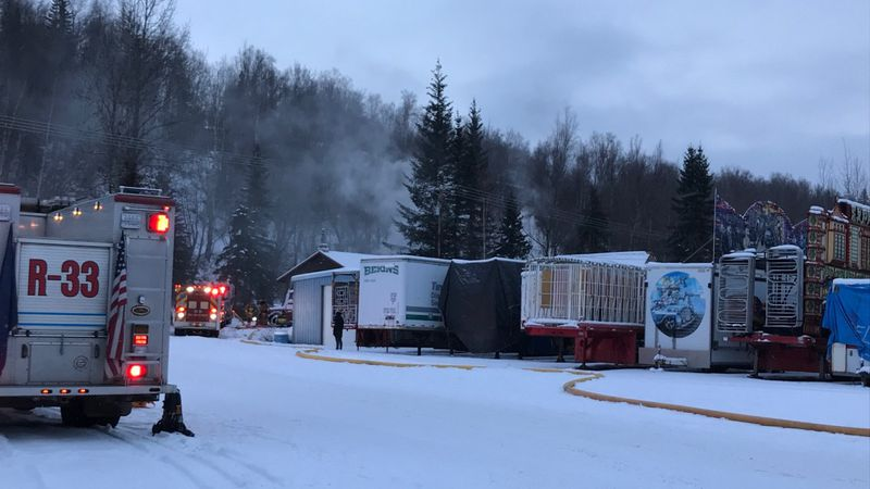 Smoke from a house fire in Chugiak on Friday, Nov. 27, 2020.