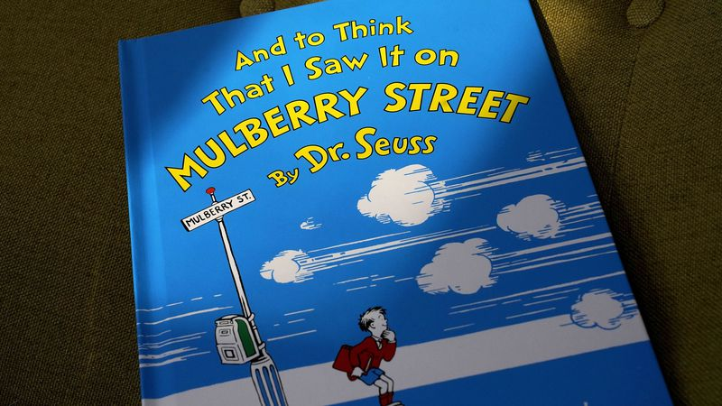 """A copy of the book """"And to Think That I Saw It on Mulberry Street,"""" by Dr. Seuss, rests in a..."""