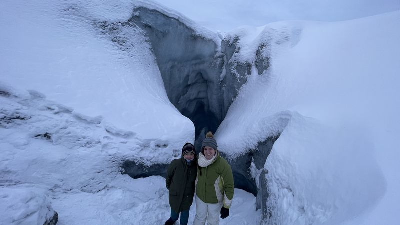 Olivia and Taylar share many adventures including this recent glacier hike