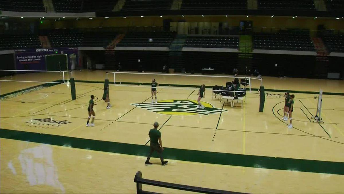 University of Alaska Anchorage volleyball practice.