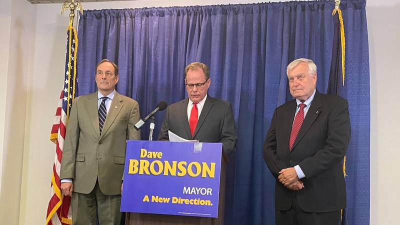Presumed mayor-elect Dave Bronson speaks at a press conference Monday, May 24, 2021 to announce...