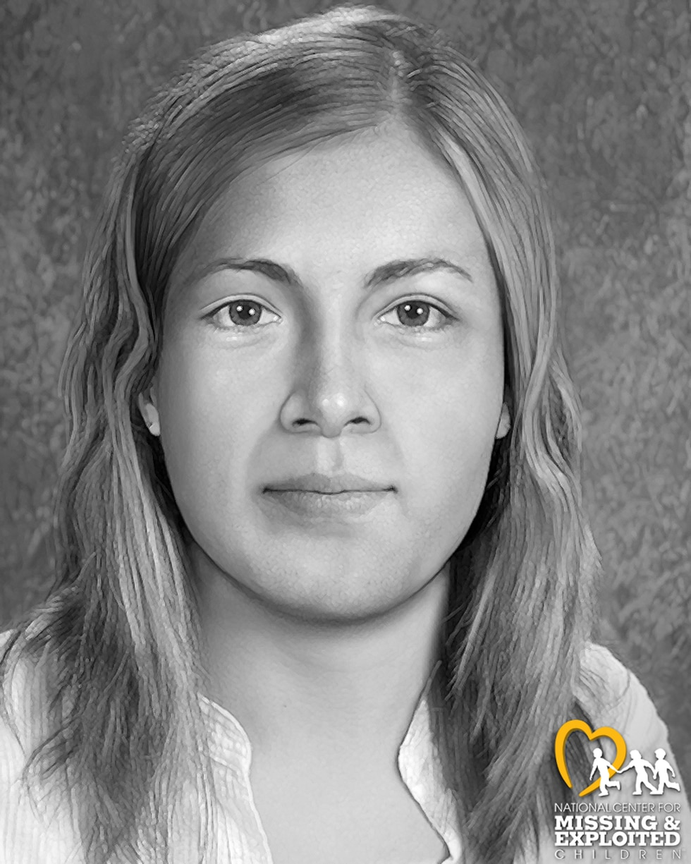 An updated forensic composite by the National Center for Missing and Exploited Children in Sept. 2020 of Eklutna Annie, a Jane Doe victim of serial killer Robert Hansen.