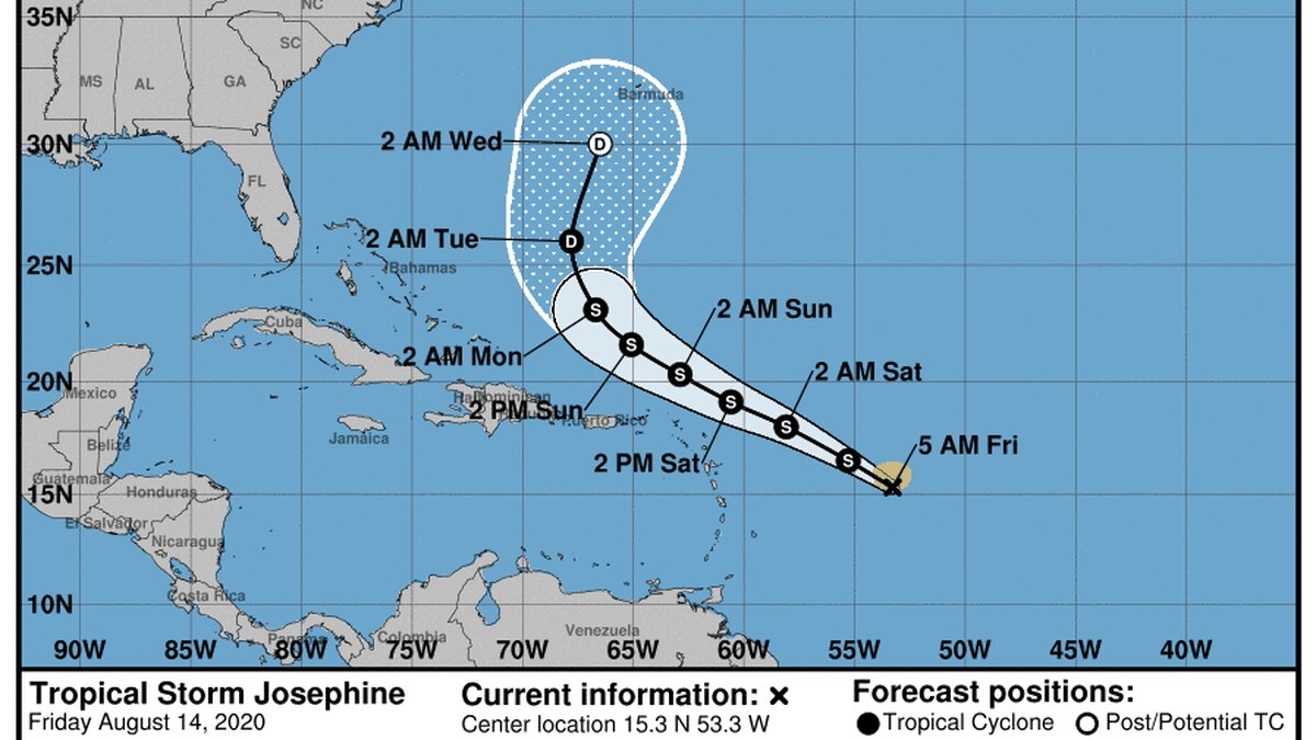 """Josephine is just barely holding on to its tropical storm status as it moves over the Atlantic Ocean as the earliest """"J-named"""" storm in a record-setting hurricane season."""