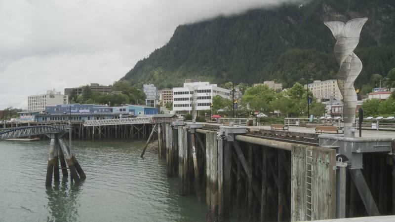Looking back at the city from Juneau's Seawalk on July 27, 2021 in Juneau, Alaska.
