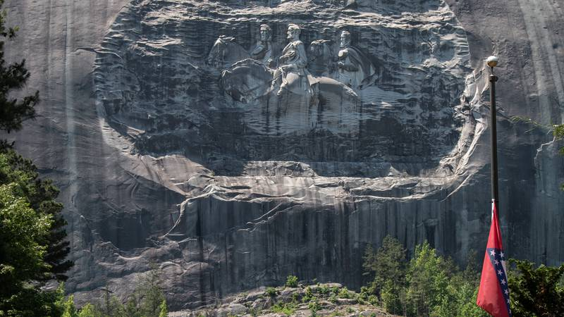 A carving on Stone Mountain honoring Confederate generals is shown on Monday, May 24, 2021, in...