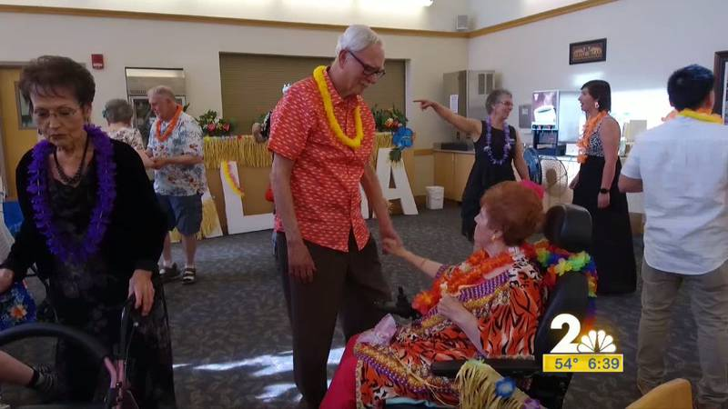 Deann and Dave Gleason attending the 2nd Annual Senior Prom at Providence's Horizon House.
