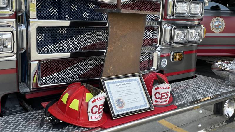 A piece of steel from the remnants of the World Trade Center is in the Central Emergency...