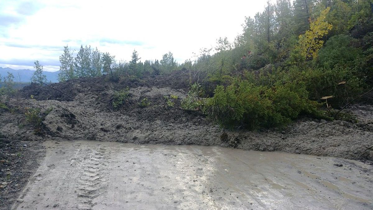 A mudslide covered the McCarthy Road on Tuesday. Department of Transportation photo courtesy...