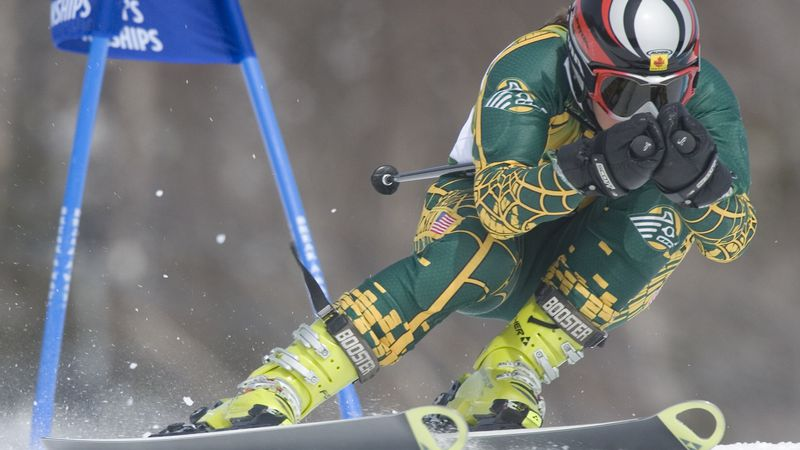 Alex Parker of the University of Alaska-Anchorage skis to third place in the Women's Giant...
