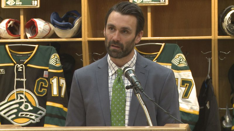 Matt Curley addresses the media after being named UAA's sixth head hockey coach in program...
