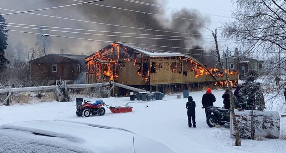 Fire burns building in Tuluksak