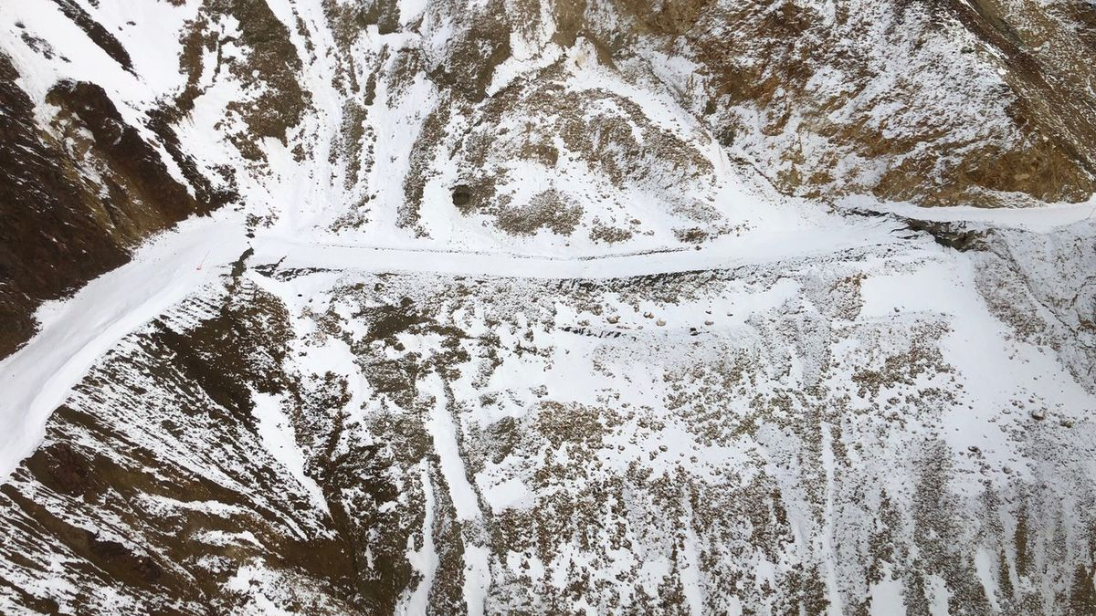The park road can be seen sliding down the hillside. (NPS Photos)