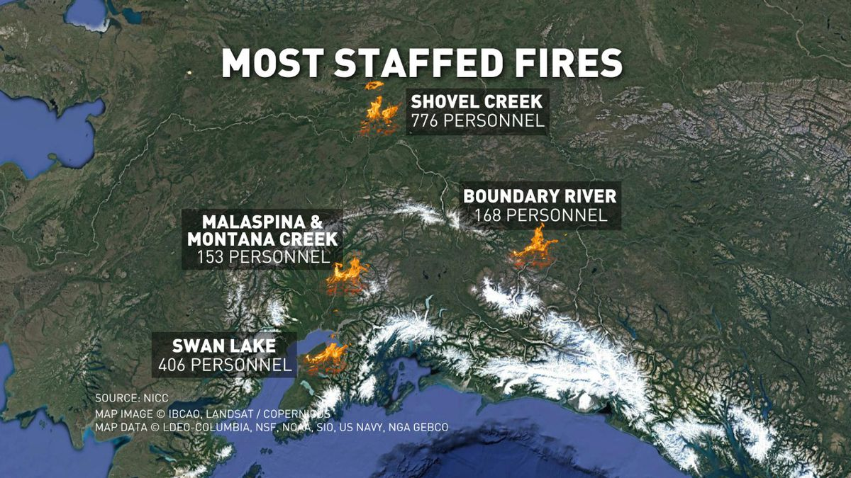 Fire staffing in Alaska as of July 9, 2019 (KTUU/info from NICC)
