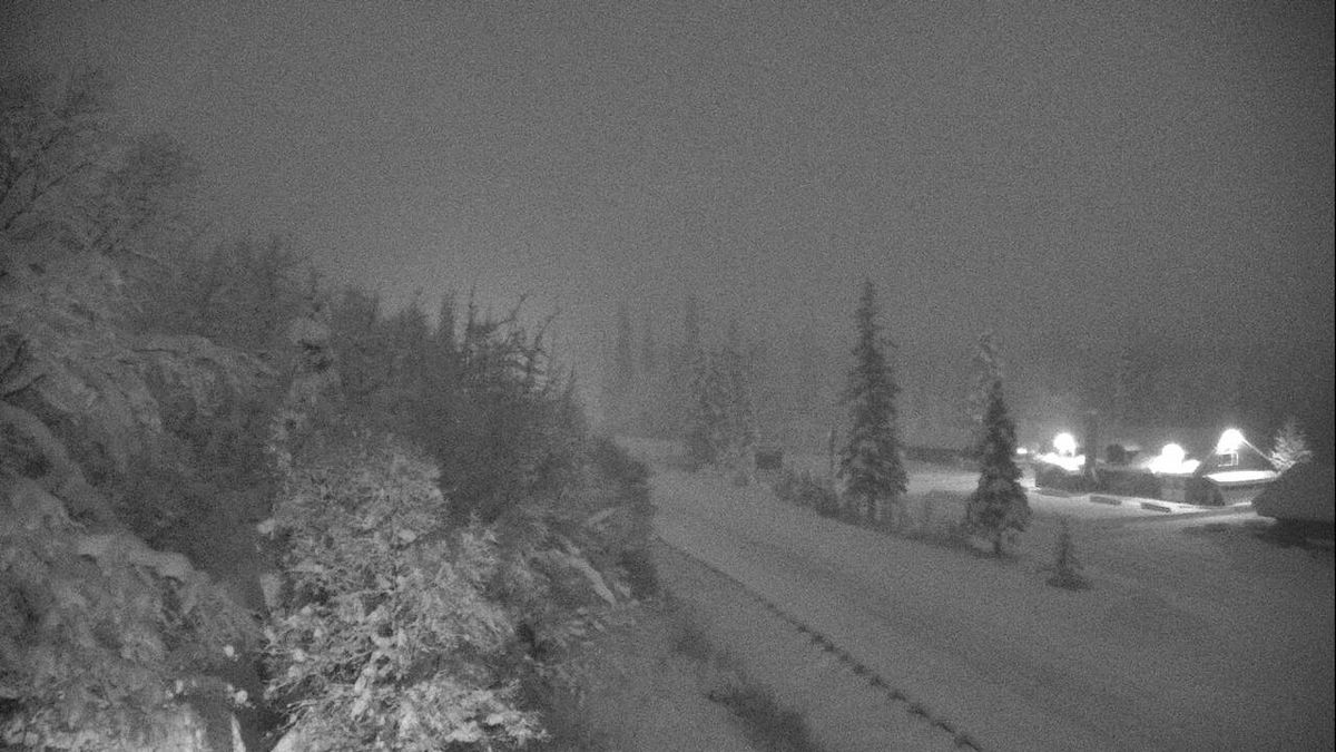 This photo shows conditions at 5 p.m. of approximately Mile 46 of the Seward Highway on Dec. 19. (From Alaska Dept. of Transportation & Public Facilities)