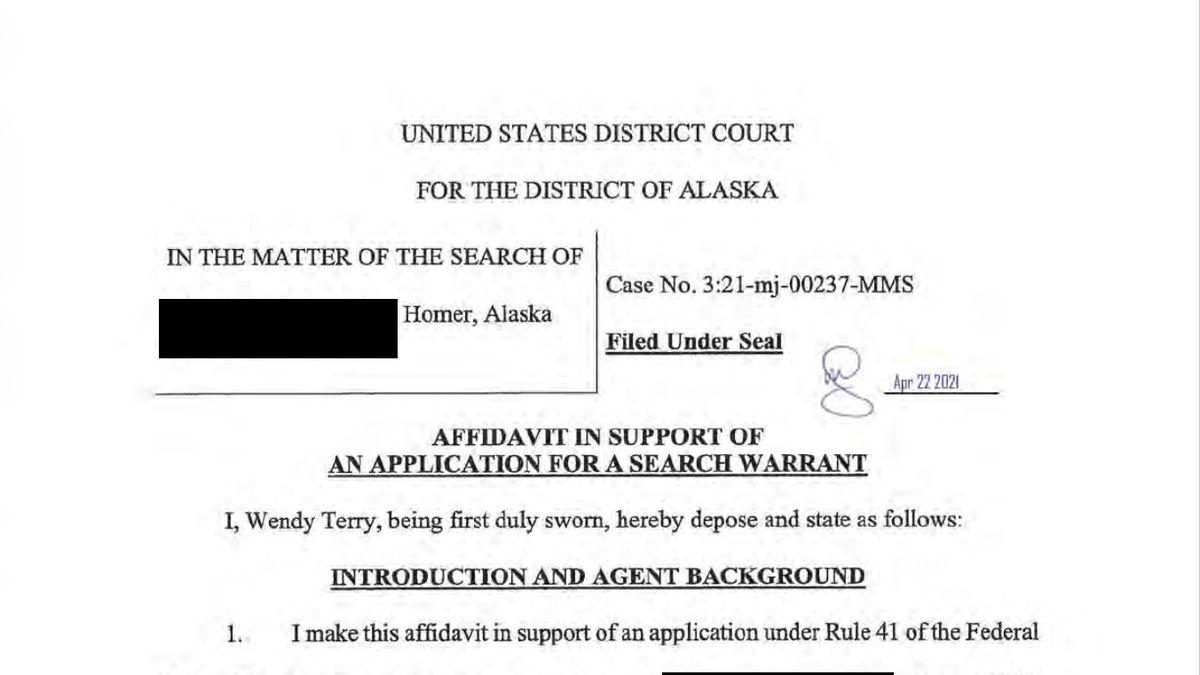 FBI application for search warrant in Homer