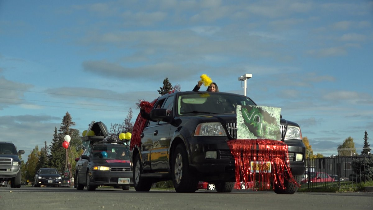 Organizations in Anchorage orchestrated a car parade through Mountain View Saturday morning...
