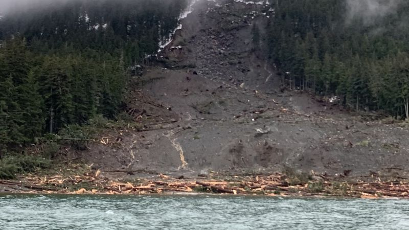 Damage caused by landslide in Haines.