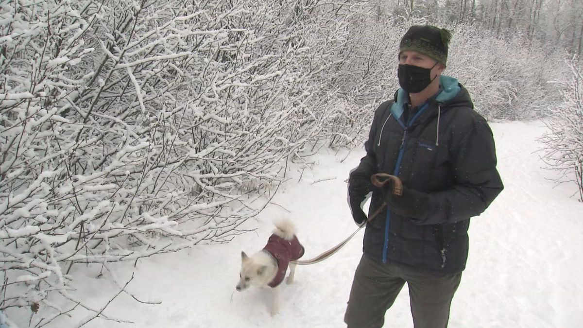 John Baker's dog Stormy was caught in a snare trap on Tuesday