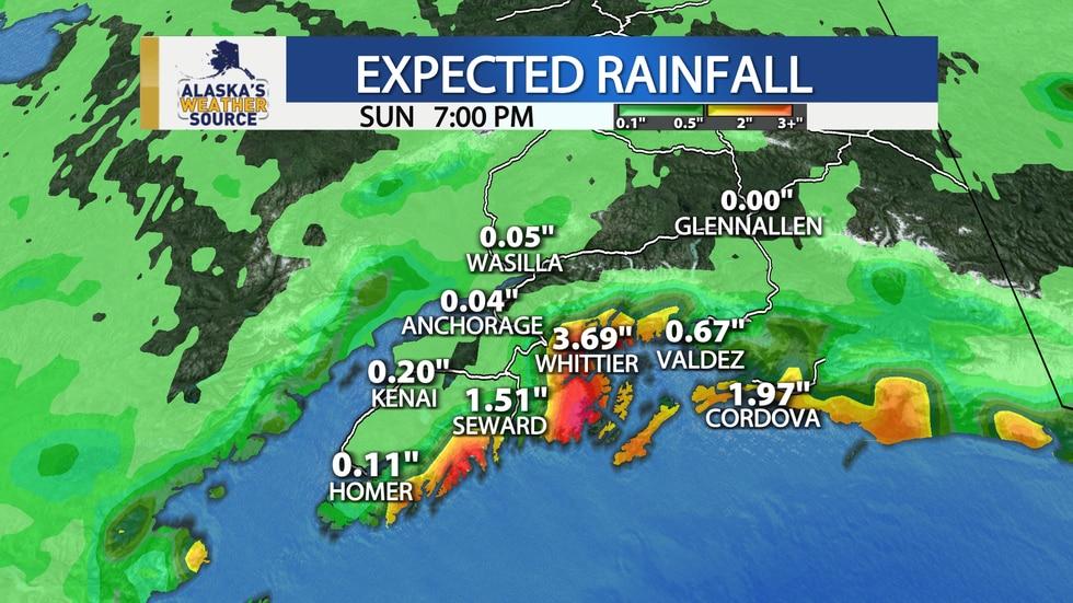 Expected rainfall across Southcentral through Sunday evening.