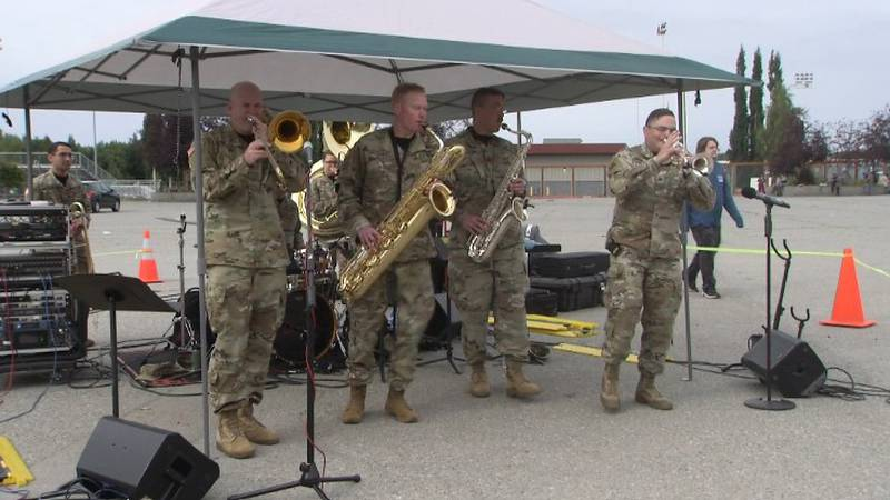 The 9th Army Band performs at recent benefit for Bean's Cafe at the Sullivan Arena in...