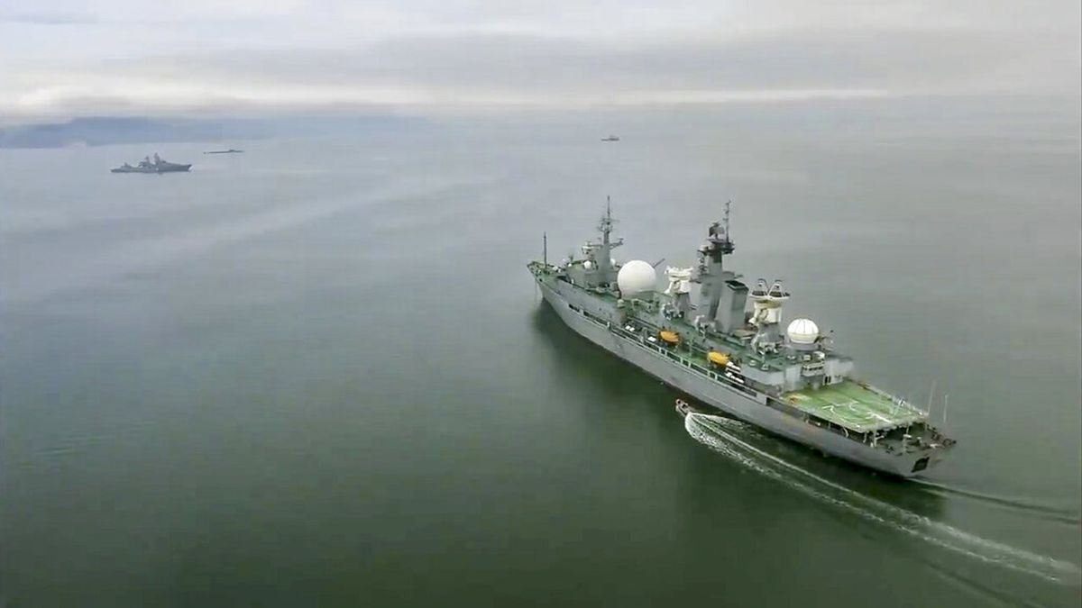 In this undated video grab provided by Russian Defense Ministry Press Service, Russian warships take part in manoeuvres in the Bering Sea. The Russian navy has conducted massive war games near Alaska involving dozens of ships and aircraft, the biggest such drills in the area since Soviet times. (Russian Defense Ministry Press Service via AP)