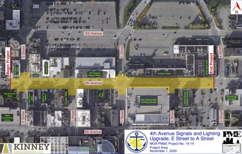 4th Avenue signals and lighting upgrade, E Street to A Street.