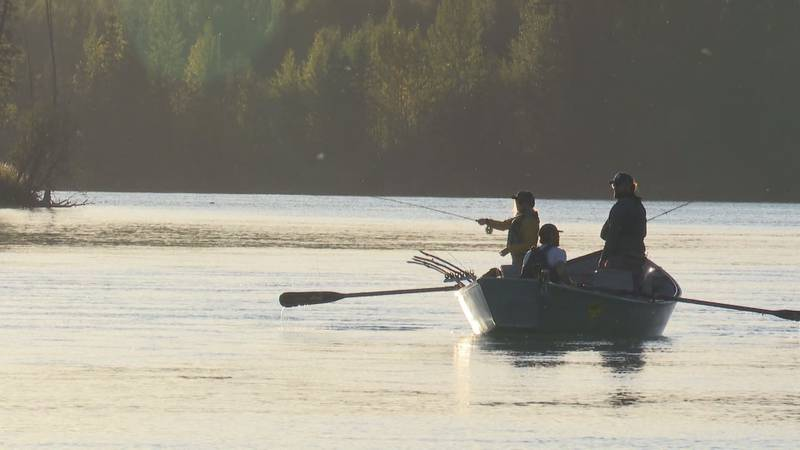 Fly fisherman on the upper Kenai River in Southcentral Alaska.