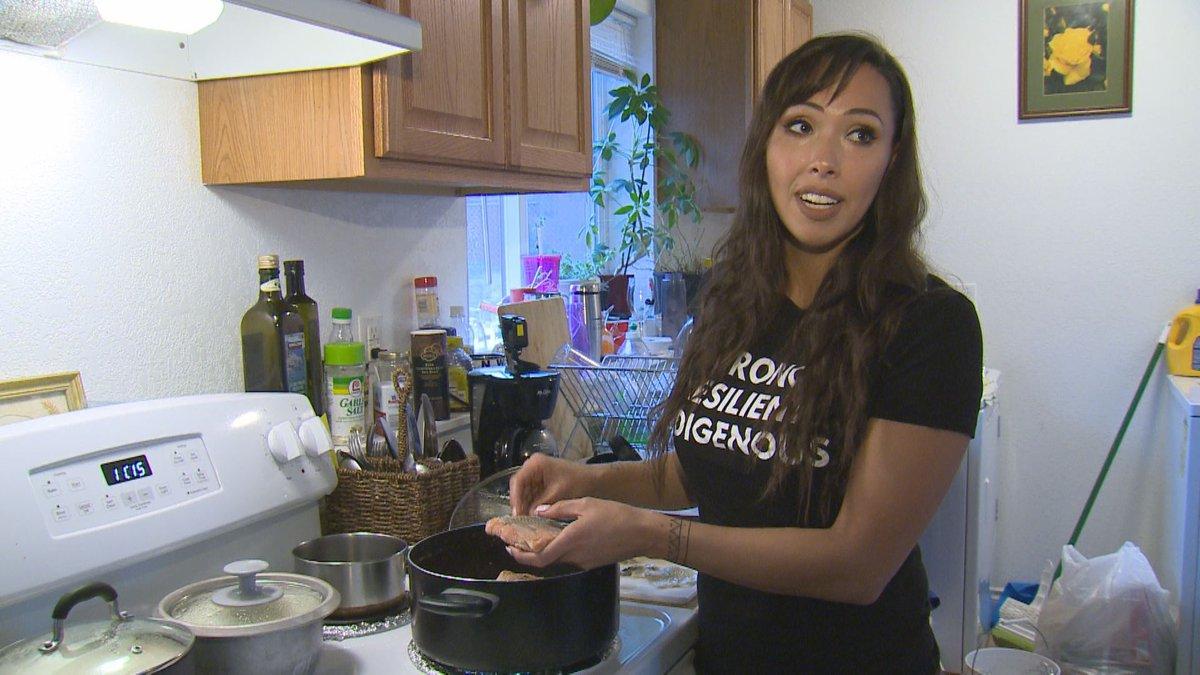 Haliehana Stepetin prepares a traditional Unangax meal (KTUU)