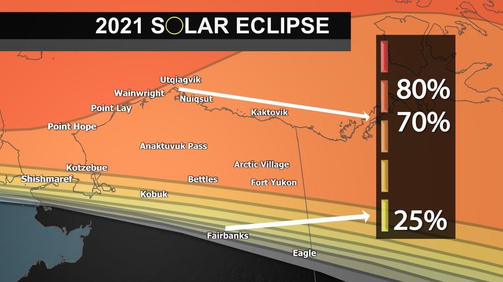 Partial solar eclipse viewing opportunity for northern Alaska locations