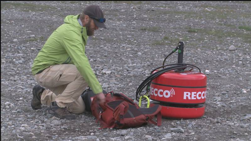 The Recco device is designed to detect any Recco reflectors within a 100-meter search path.