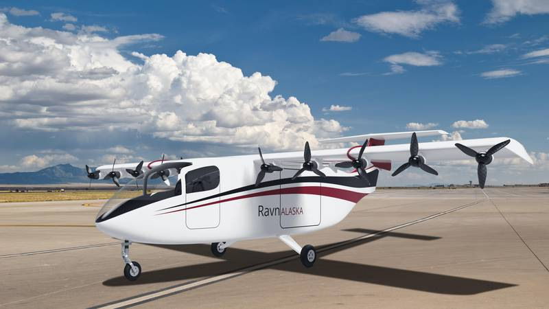 An image showing the current design of the electric aircraft that Ravn is planning to purchase...