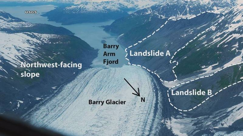 Barry Glacier and Barry Arm Fjord seen from above.