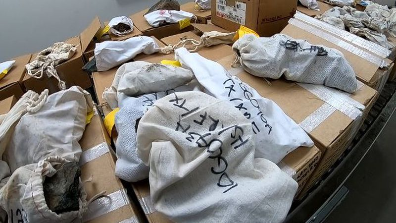 Bags of geological samples sit in a room within the Geologic Materials Center in Anchorage in...