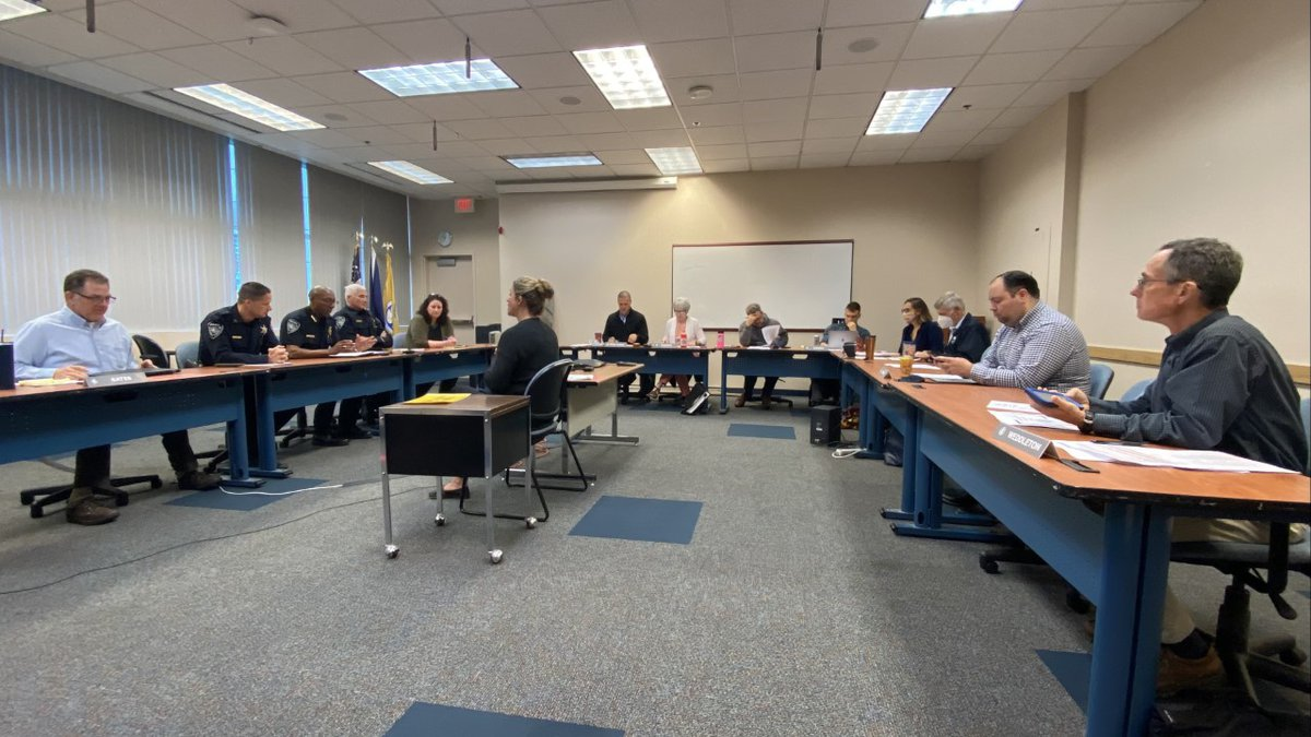 Anchorage Police Chief Ken McCoy and command staff speak to Anchorage Assembly members during...