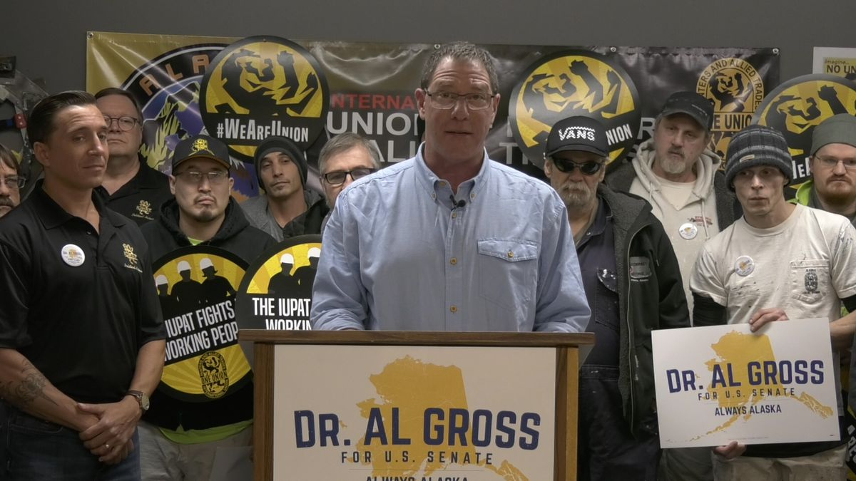 U.S. Candidate Dr. Al Gross held a press conference at the International Union of Painters and Allied Trades Local 1959 in Fairbanks. (Sara Tewksbury/KTVF)