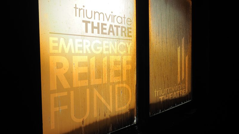 A flier from the Triumvirate Theatre in Kenai asking for financial help after the theatre burnt...