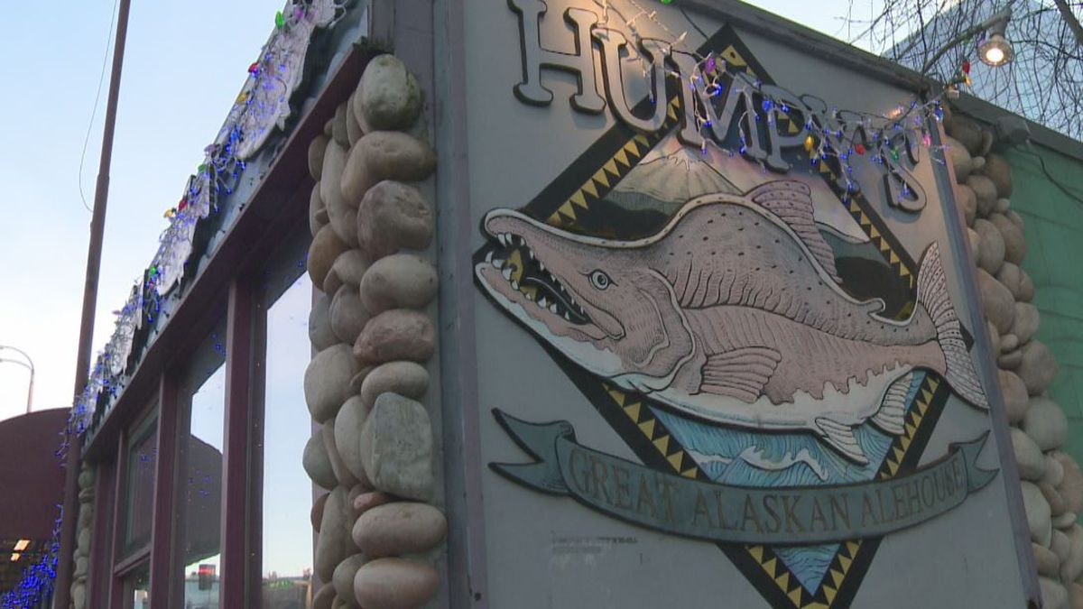 Signage for Humpy's Great Alaskan Alehouse in downtown Anchorage. Photo by KTUU journalist...