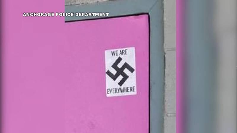 Swastika sticker at Mad Myrna's, and Alaska Jewish Museum