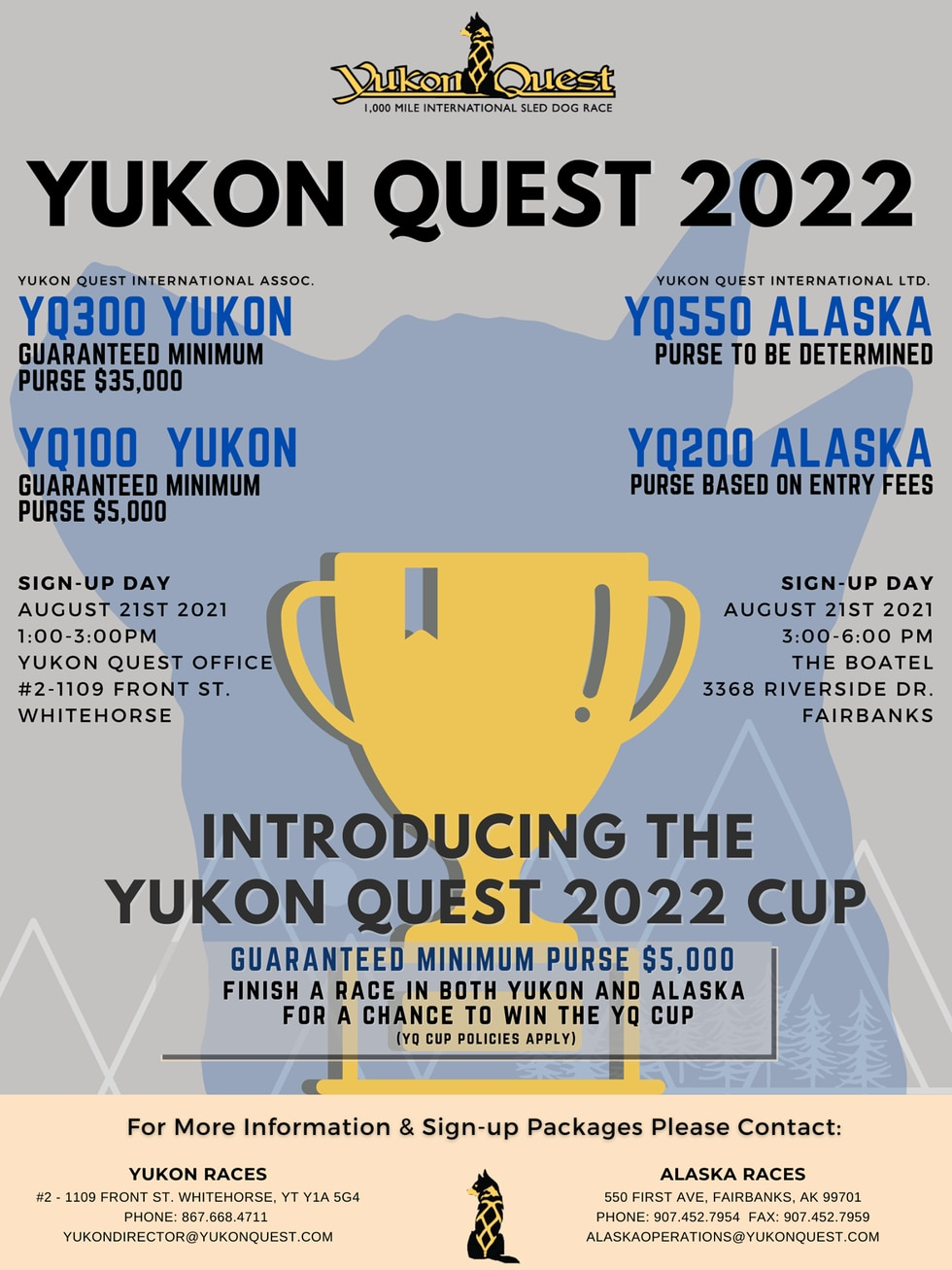 Yukon Quest will host four races this year, two on each side of the Alaska-Canadian border.